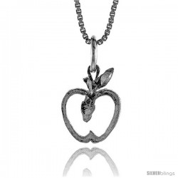 Sterling Silver Apple Pendant, 1/2 in Tall