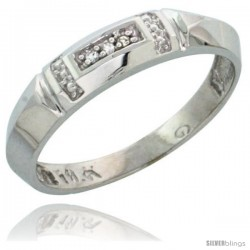 10k White Gold Ladies Diamond Wedding Band Ring 0.02 cttw Brilliant Cut, 5/32 in wide -Style 10w022lb