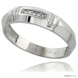 10k White Gold Mens Diamond Wedding Band Ring 0.03 cttw Brilliant Cut, 7/32 in wide