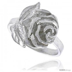 Sterling Silver Rose Flower Ring Polished finish 5/8 in wide