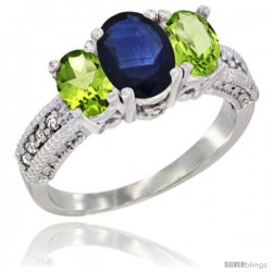 14k White Gold Ladies Oval Natural Blue Sapphire 3-Stone Ring with Peridot Sides Diamond Accent