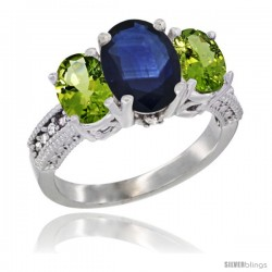 14K White Gold Ladies 3-Stone Oval Natural Blue Sapphire Ring with Peridot Sides Diamond Accent