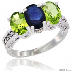 14K White Gold Natural Blue Sapphire & Peridot Sides Ring 3-Stone Oval 7x5 mm Diamond Accent