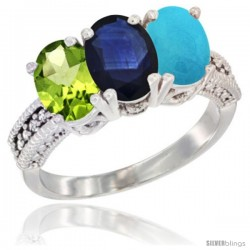 14K White Gold Natural Peridot, Blue Sapphire & Turquoise Ring 3-Stone Oval 7x5 mm Diamond Accent