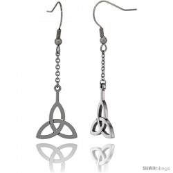 Small Stainless Steel Celtic Triquetra Trinity Dangle Earrings, 2 in (42 mm) long