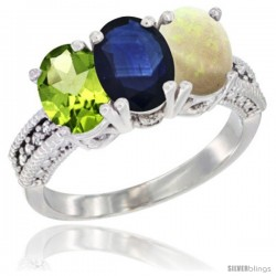 14K White Gold Natural Peridot, Blue Sapphire & Opal Ring 3-Stone Oval 7x5 mm Diamond Accent
