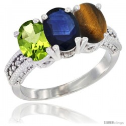 14K White Gold Natural Peridot, Blue Sapphire & Tiger Eye Ring 3-Stone Oval 7x5 mm Diamond Accent