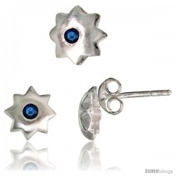 Sterling Silver Matte-finish Star Stud Earrings (7 mm) & Pendant Slide (8 mm) Set, w/ Brilliant Cut Blue Sapphire-colored CZ