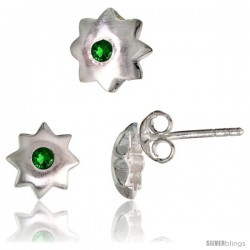 Sterling Silver Matte-finish Star Stud Earrings (7 mm) & Pendant Slide (8 mm) Set, w/ Brilliant Cut Emerald-colored CZ Stones