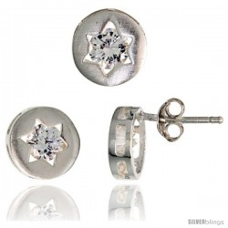 Sterling Silver Jewish Star of David Stud Earrings (9 mm) & Pendant Slide (9 mm) Set, w/ Brilliant Cut CZ Stones