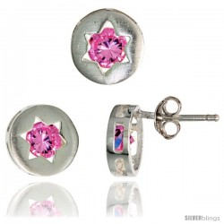 Sterling Silver Jewish Star of David Stud Earrings (9 mm) & Pendant Slide (9 mm) Set, w/ Brilliant Cut Pink Tourmaline-colored