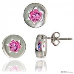 Sterling Silver Jewish Star of David Stud Earrings (9 mm) & Pendant Slide (9 mm) Set, w/ Brilliant Cut Pink Tourmaline-colored