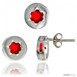 Sterling Silver Jewish Star of David Stud Earrings (9 mm) & Pendant Slide (9 mm) Set, w/ Brilliant Cut Ruby-colored CZ Stones