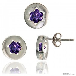 Sterling Silver Jewish Star of David Stud Earrings (9 mm) & Pendant Slide (9 mm) Set, w/ Brilliant Cut Amethyst-colored CZ