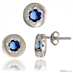 Sterling Silver Jewish Star of David Stud Earrings (9 mm) & Pendant Slide (9 mm) Set, w/ Brilliant Cut Blue Sapphire-colored CZ