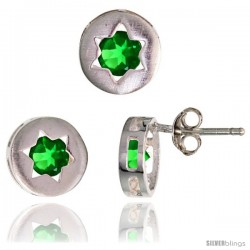 Sterling Silver Jewish Star of David Stud Earrings (9 mm) & Pendant Slide (9 mm) Set, w/ Brilliant Cut Emerald-colored CZ Stones