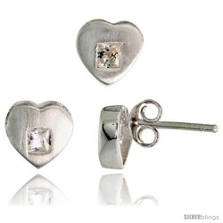 Sterling Silver Matte-finish Heart Earrings (8mm tall) & Pendant Slide (9mm tall) Set, w/ Princess Cut CZ Stones
