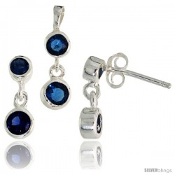 Sterling Silver Dangle Earrings (13mm tall) & Pendant (17mm tall) Set, w/ Bezel Set Brilliant Cut Blue Sapphire-colored CZ