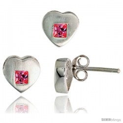Sterling Silver Matte-finish Heart Earrings (8mm tall) & Pendant Slide (9mm tall) Set, w/ Princess Cut Pink Tourmaline-colored