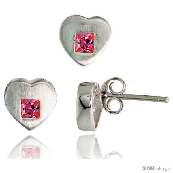 https://www.silverblings.com/17685-thickbox_default/sterling-silver-matte-finish-heart-earrings-8mm-tall-pendant-slide-9mm-tall-set-w-princess-cut-pink-tourmaline-colored.jpg