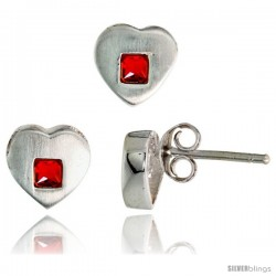 Sterling Silver Matte-finish Heart Earrings (8mm tall) & Pendant Slide (9mm tall) Set, w/ Princess Cut Ruby-colored CZ Stones