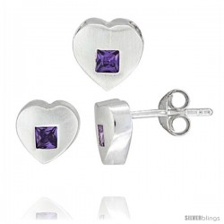 Sterling Silver Matte-finish Heart Earrings (8mm tall) & Pendant Slide (9mm tall) Set, w/ Princess Cut Amethyst-colored CZ
