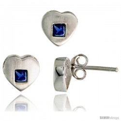 Sterling Silver Matte-finish Heart Earrings (8mm tall) & Pendant Slide (9mm tall) Set, w/ Princess Cut Blue Sapphire-colored CZ