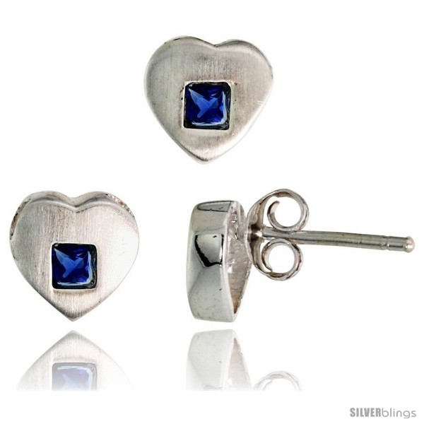 https://www.silverblings.com/17691-thickbox_default/sterling-silver-matte-finish-heart-earrings-8mm-tall-pendant-slide-9mm-tall-set-w-princess-cut-blue-sapphire-colored-cz.jpg