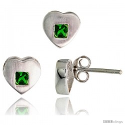 Sterling Silver Matte-finish Heart Earrings (8mm tall) & Pendant Slide (9mm tall) Set, w/ Princess Cut Emerald-colored CZ Stones