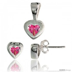 Sterling Silver Matte-finish Heart Earrings (7mm tall) & Pendant (13mm tall) Set, w/ Princess Cut Pink Tourmaline-colored CZ
