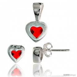 Sterling Silver Matte-finish Heart Earrings (7mm tall) & Pendant (13mm tall) Set, w/ Princess Cut Ruby-colored CZ Stones