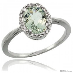 Sterling Silver Natural Green Amethyst Diamond Halo Ring 1.17 Carat 8X6 mm Oval Shape, 1/2 in wide