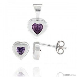 Sterling Silver Matte-finish Heart Earrings (7mm tall) & Pendant (13mm tall) Set, w/ Princess Cut Amethyst-colored CZ Stones