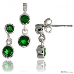 Sterling Silver Dangle Earrings (13mm tall) & Pendant (17mm tall) Set, w/ Bezel Set Brilliant Cut Emerald-colored CZ Stones