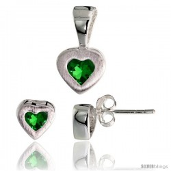 Sterling Silver Matte-finish Heart Earrings (7mm tall) & Pendant (13mm tall) Set, w/ Princess Cut Emerald-colored CZ Stones