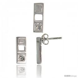 Sterling Silver Matte-finish Bar Earrings (12mm tall) & Pendant Slide (14mm tall) Set, w/ Princess Cut CZ Stones