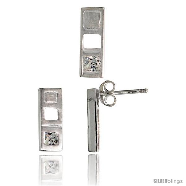https://www.silverblings.com/17709-thickbox_default/sterling-silver-matte-finish-bar-earrings-12mm-tall-pendant-slide-14mm-tall-set-w-princess-cut-cz-stones.jpg
