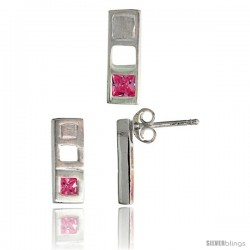 Sterling Silver Matte-finish Bar Earrings (12mm tall) & Pendant Slide (14mm tall) Set, w/ Princess Cut Pink Tourmaline-colored