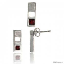 Sterling Silver Matte-finish Bar Earrings (12mm tall) & Pendant Slide (14mm tall) Set, w/ Princess Cut Ruby-colored CZ Stones