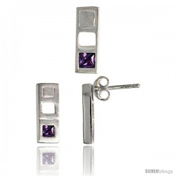 Sterling Silver Matte-finish Bar Earrings (12mm tall) & Pendant Slide (14mm tall) Set, w/ Princess Cut Amethyst-colored CZ
