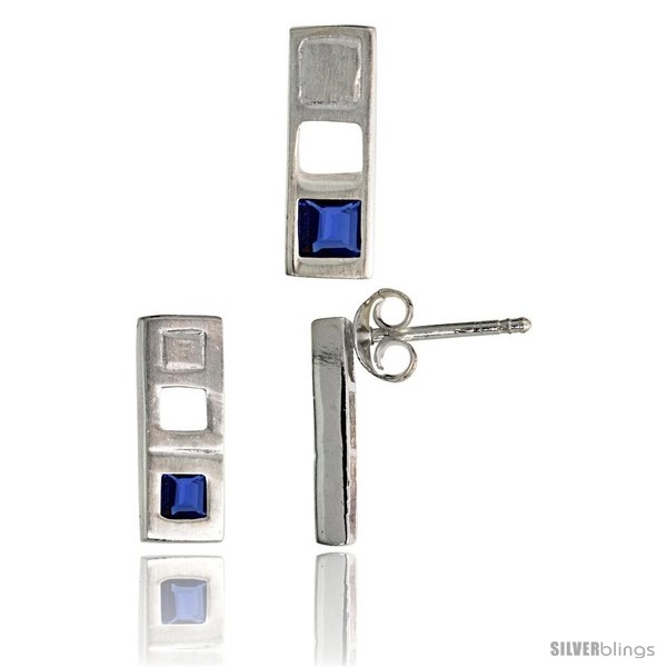 https://www.silverblings.com/17717-thickbox_default/sterling-silver-matte-finish-bar-earrings-12mm-tall-pendant-slide-14mm-tall-set-w-princess-cut-blue-sapphire-colored-cz.jpg