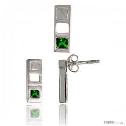 Sterling Silver Matte-finish Bar Earrings (12mm tall) & Pendant Slide (14mm tall) Set, w/ Princess Cut Emerald-colored CZ Stones
