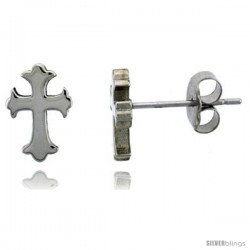 Small Stainless Steel Gothic Cross Stud Earrings, 3/8 in High