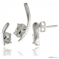 Sterling Silver Fancy Kink Earrings (12mm tall) & Pendant (16mm tall) Set, w/ Oval Cut CZ Stones