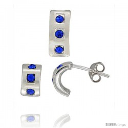 Sterling Silver Matte-finish Half Hoop Earrings (9mm tall) & Pendant Slide (12mm tall) Set, w/ Blue Sapphire-colored Brilliant