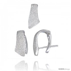 Sterling Silver Matte-finish Huggie Stud Earrings (14mm tall) & Pendant Slide (13mm tall) Set