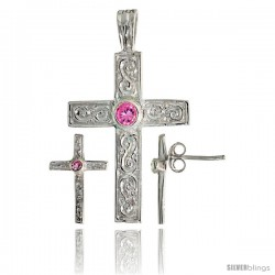 Sterling Silver Swirl-designed Latin Cross Earrings (16mm tall) & Pendant (28mm tall) Set, w/ Bezel Set Brilliant Cut Pink