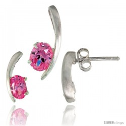 Sterling Silver Fancy Kink Earrings (12mm tall) & Pendant (16mm tall) Set, w/ Oval Cut Pink Tourmaline-colored CZ Stones