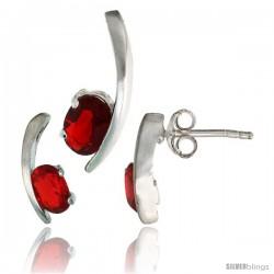 Sterling Silver Fancy Kink Earrings (12mm tall) & Pendant (16mm tall) Set, w/ Oval Cut Ruby-colored CZ Stones
