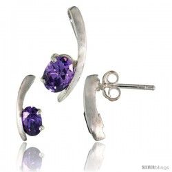Sterling Silver Fancy Kink Earrings (12mm tall) & Pendant (16mm tall) Set, w/ Oval Cut Amethyst-colored CZ Stones